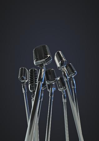 remix: Retro microphones  3D render of group of old fashioned classic microphones