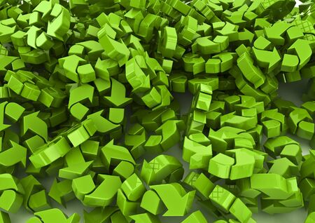 recycling symbols: Pile of recycling symbols  3D render of recycling symbols Stock Photo