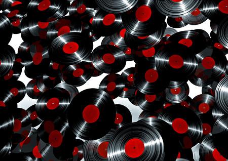 remix: Lots of vinyl records  3D render of vinyl records Stock Photo