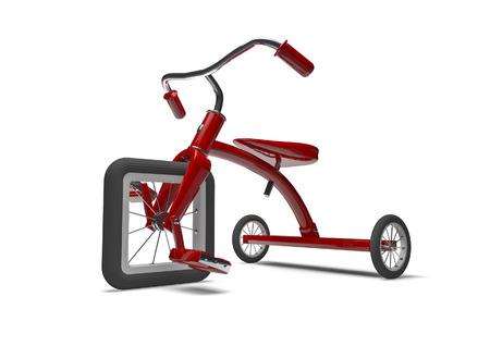 설계 결함과 세발 자전거 광장 앞 타이어와 자전거의 3D 렌더링