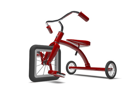 drawback: Tricycle with design flaw  3D render of tricycle with square front tire