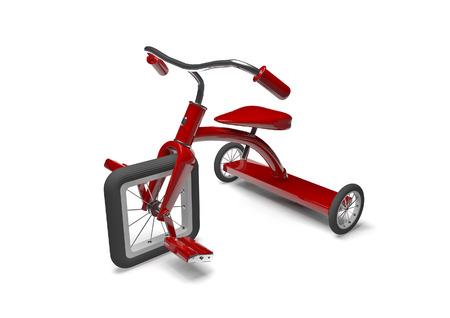 Driewieler met ontwerpfout 3D render van driewieler met vierkante voorband