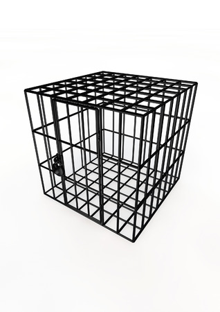 contain: Cage  3D render of metal cage Stock Photo
