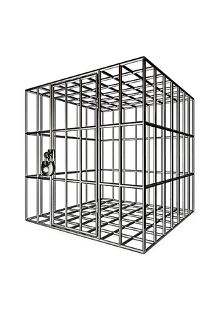 imprison: Cage  3D render of metal cage Stock Photo