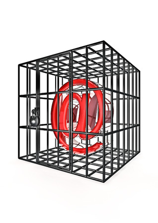 webmail: Caged email  3D render of email symbol in metal cage