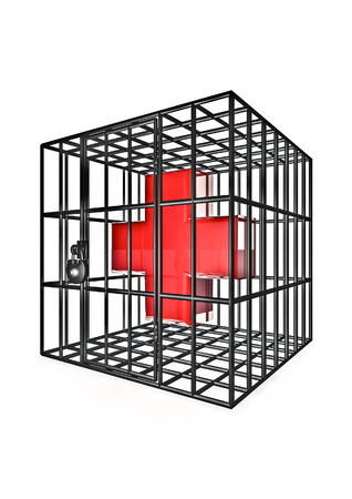 detain: Caged cross  3D render of cross symbol in metal cage