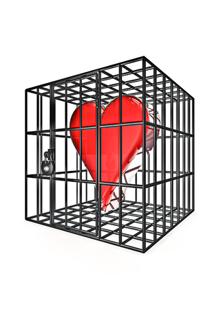 containment: Caged heart  3D render of heart symbol in metal cage Stock Photo