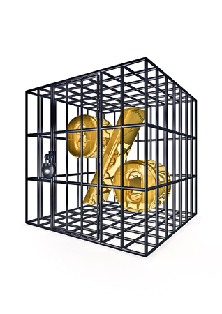 imprison: Caged percentage  3D render of percentage symbol in metal cage Stock Photo
