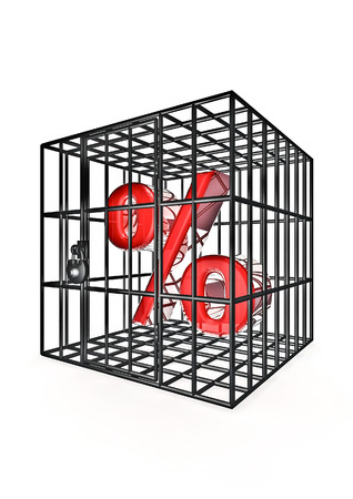 containment: Caged percentage  3D render of percentage symbol in metal cage Stock Photo