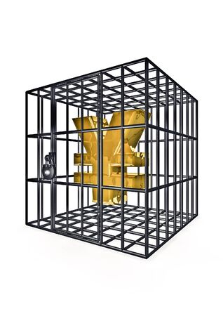 containment: Caged yen  3D render of yen symbol in metal cage
