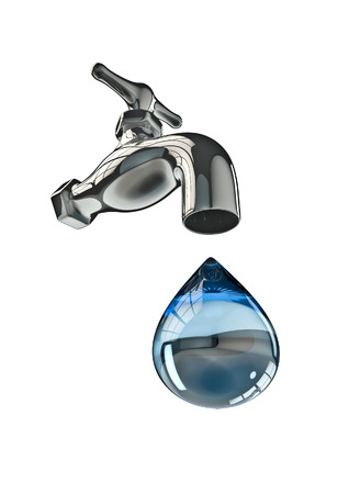 Tap water  3D render of tap and large water drop Stock Photo