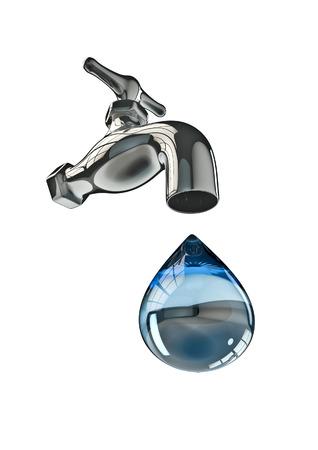 llave de agua: Toque en 3D render de agua del grifo y gran gota de agua Foto de archivo