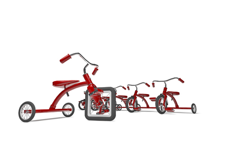 oddity: Tricycle with design flaw  3D render of tricycle with square front tire