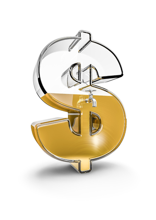 savings and loan crisis: Glass dollar  3D render of glass dollar symbol with tap filled with liquid gold