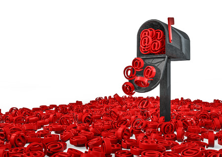 overflowing: Email concept  3D render of mailbox overflowing with email symbols Stock Photo
