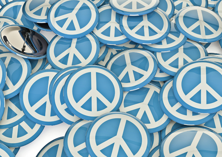 Peace badges  3D render of metallic badges with peace symbol Stock Photo