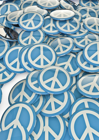 symbol of peace: Peace badges  3D render of metallic badges with peace symbol Stock Photo