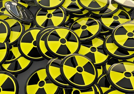 radioisotope: Nuclear badges  3D render of metallic badges with atomic energy symbol