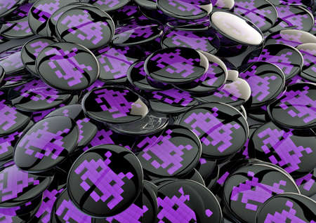 invader: Space invader badges  3D render of metallic badges with space invader symbol Stock Photo