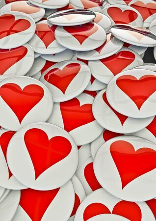 gloss banner: Heart badges  3D render of metallic badges with heart symbol