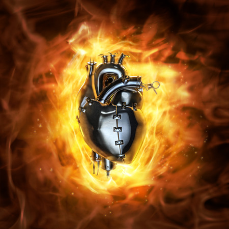 Heavy metal heart  3D render of grungy metal heart with fire background