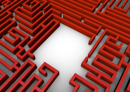 complex navigation: Maze space  3D render of maze with copy space Stock Photo