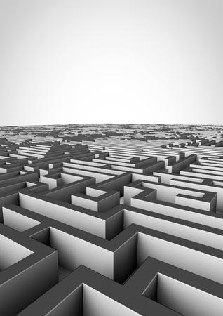 complex navigation: Maze background  3D render of giant maze stretching to horizon