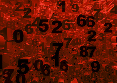colorize: Numbers  3D render of mass of numbers, easy to colorize Stock Photo