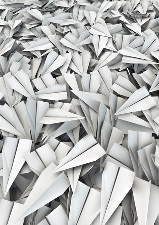 hundreds: Paper planes background  3D render of hundreds of paper planes filling image