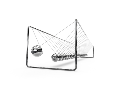 Very long Newtons cradle  3D render of ridiculously long Newtons cradle