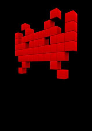 najechać: Space Invader 3D render piksele Space Invader