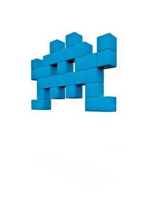 space invader: Space invader  3D render of pixelated space invader