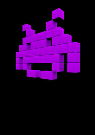 space invaders game: Space invader  3D render of pixelated space invader