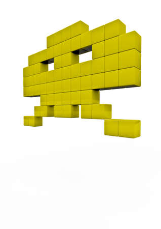 invader: Space invader  3D render of pixelated space invader