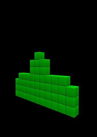 invader: Space invader  3D render of pixelated space invader