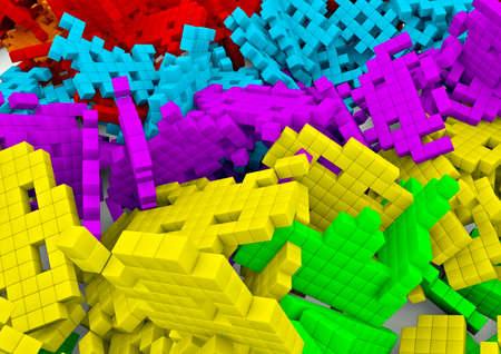space invaders game: Space invaders background  3D render of pixelated space invaders