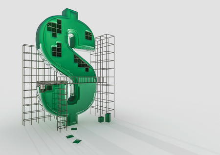 Building The Dollar 3D Render Of Dollar Symbol And Construction ...