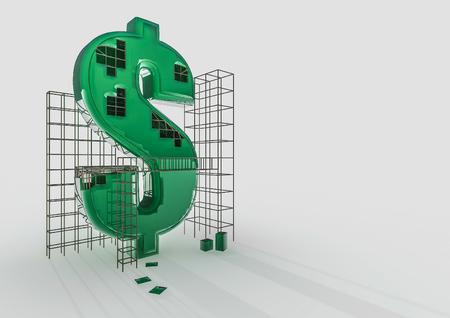 dollar symbol: Building the dollar  3D render of dollar symbol and construction frames Stock Photo