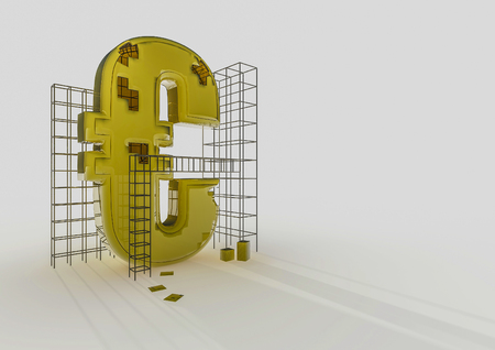 euro symbol: Building the euro  3D render of euro symbol and construction frames Stock Photo