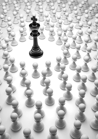 pawn king: Black king surrounded  3D render of chess pieces Stock Photo