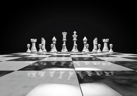 チェスの駒のチェス ゲーム 3 D のレンダリング 写真素材
