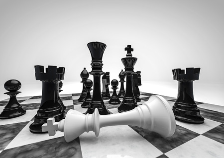 Chess black wins  3D render of chess pieces