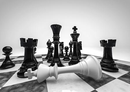 Schaken zwart wint 3D render van schaakstukken