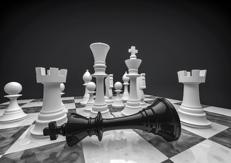 Chess white wins  3D render of chess pieces