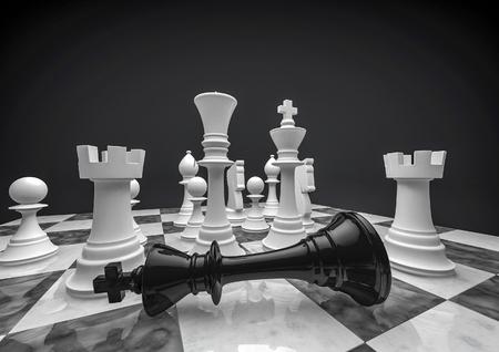Schach weiß gewinnt 3D-Darstellung von Schachfiguren Standard-Bild - 45527073