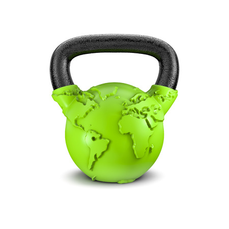 lifting globe: Kettlebell Earth  3D render of heavy kettlebell weight with map of Earth Stock Photo