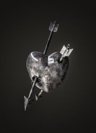 crossbow: Valentine metal heart  3D render of metal heart pierced by crossbow bolts