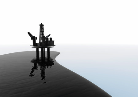 unsustainable: Oil spill  3D render of black oil and rig