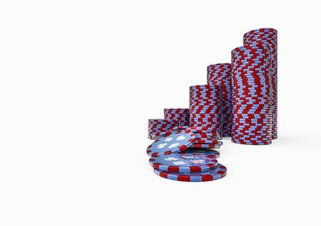 poker chip: Poker chip stacks  3D render of poker chips