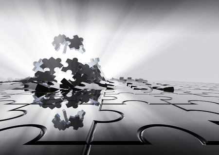 Puzzel achtergrond 3D render van puzzelstukjes